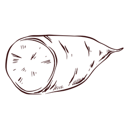 Batata-doce fatiada desenhada à mão