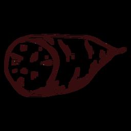 Boniato en rodajas boniato dibujado a mano