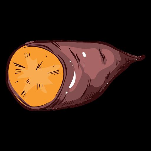 Ilustración de batata en rodajas batata