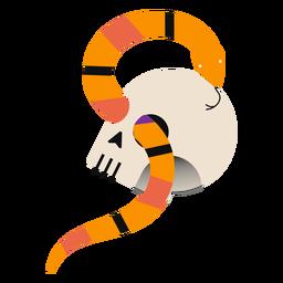 Snake through skull flat snake