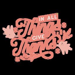 Letras de ação de graças agradecidas