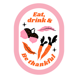 Insignia de zanahorias y bellotas de acción de gracias acción de gracias