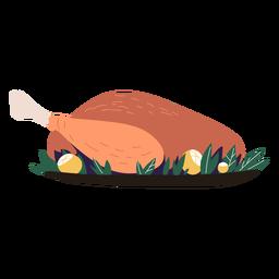 Pavo plato servido ilustración pavo