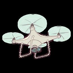Drone branco com ilustração de câmera drone