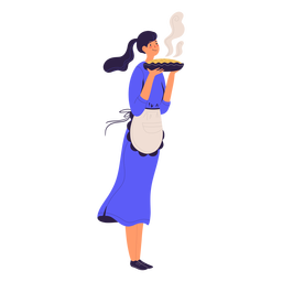 Chef mujer con chef de personaje de pastel