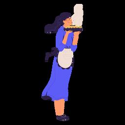 Chef mulher com chef personagem de pizza