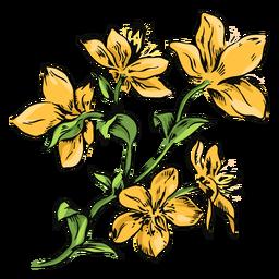 Flores amarillas rama ilustración flores