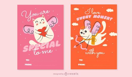 Conjunto de cartão de dia dos namorados