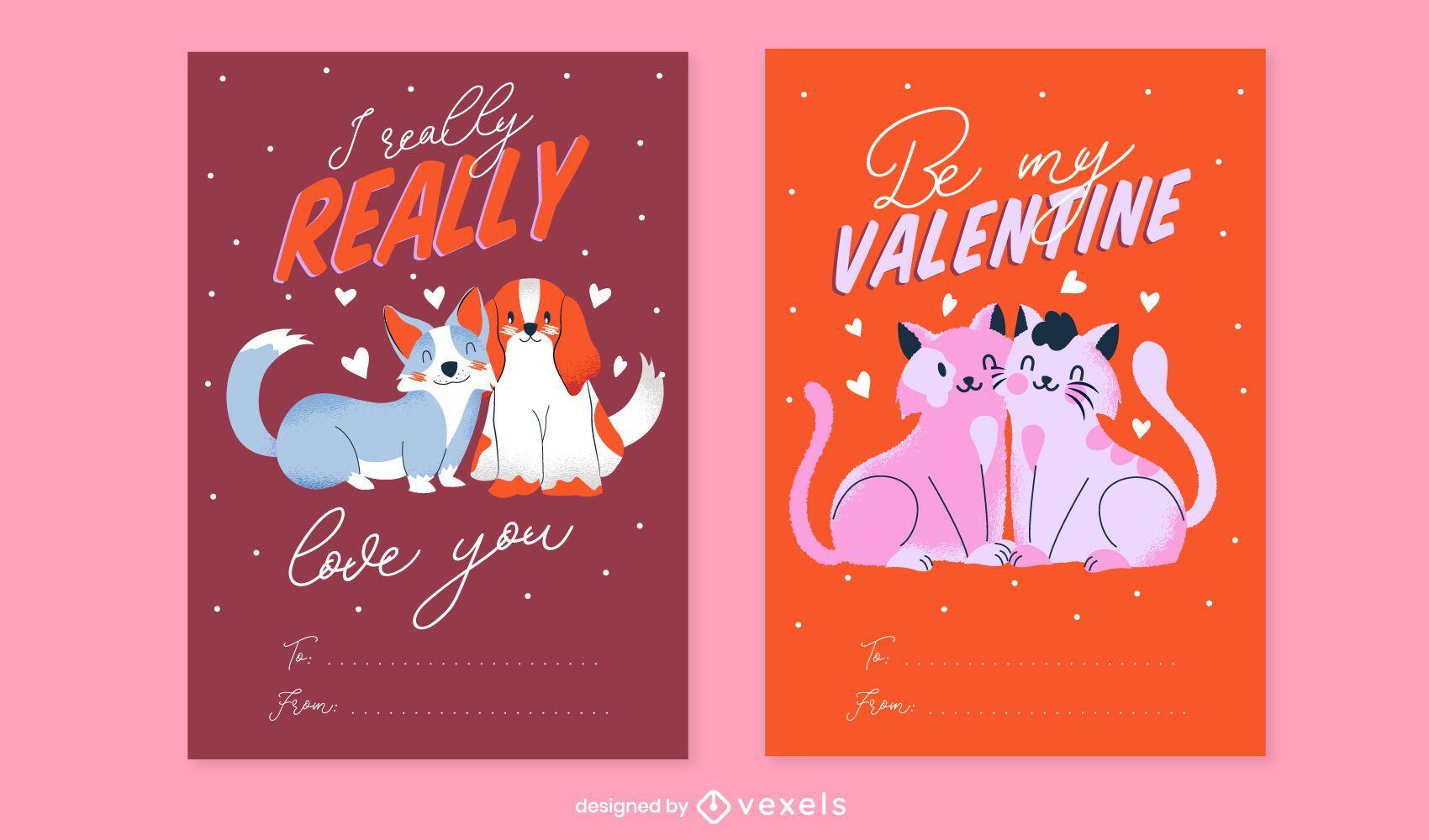 Valentine's day card set design