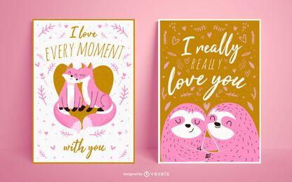 Valentinstag Poster Set Design