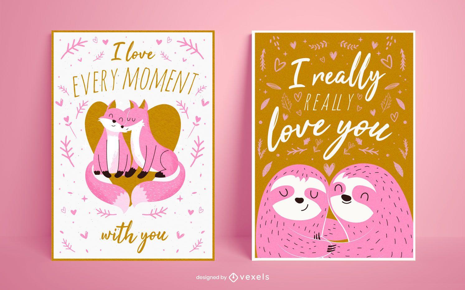 Valentine's day poster set design