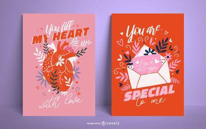Valentinstag Poster Set