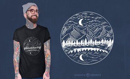 Diseño de camiseta de paisaje de montaña nocturna.