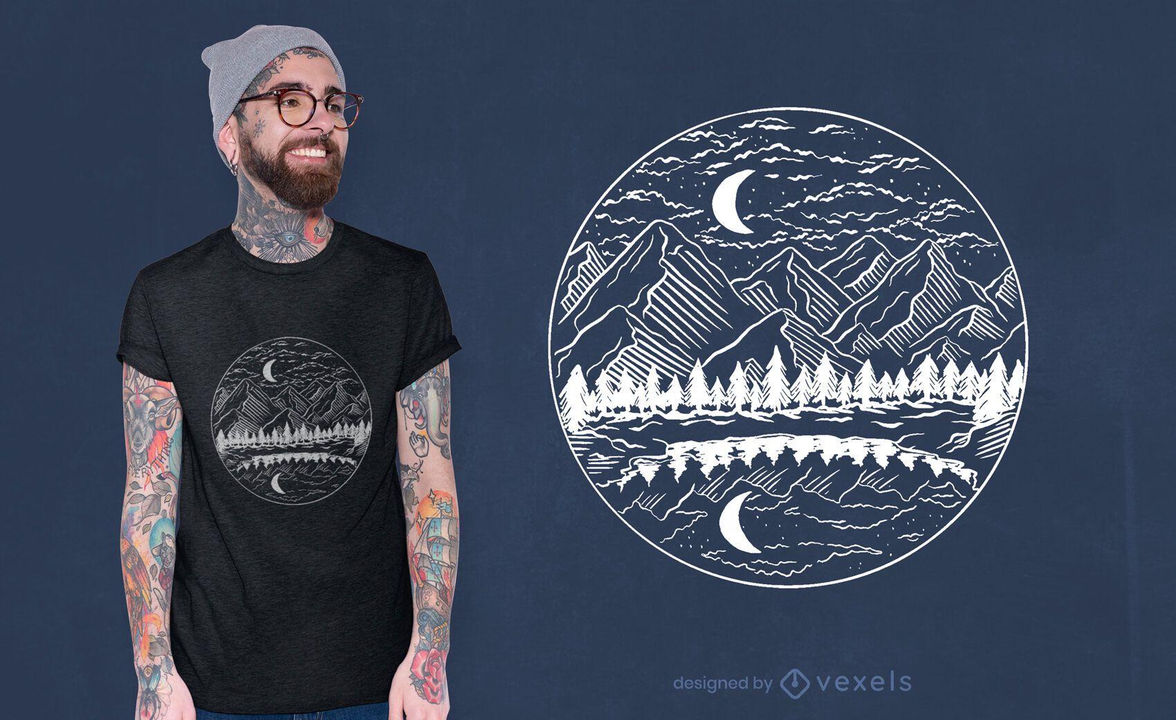 Design noturno de t-shirt com paisagem de montanha