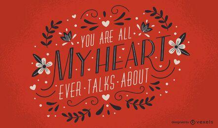 Desenho de letras com todo o meu coração