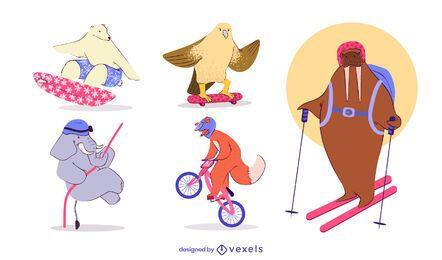 Conjunto de caracteres de animales de deportes extremos.