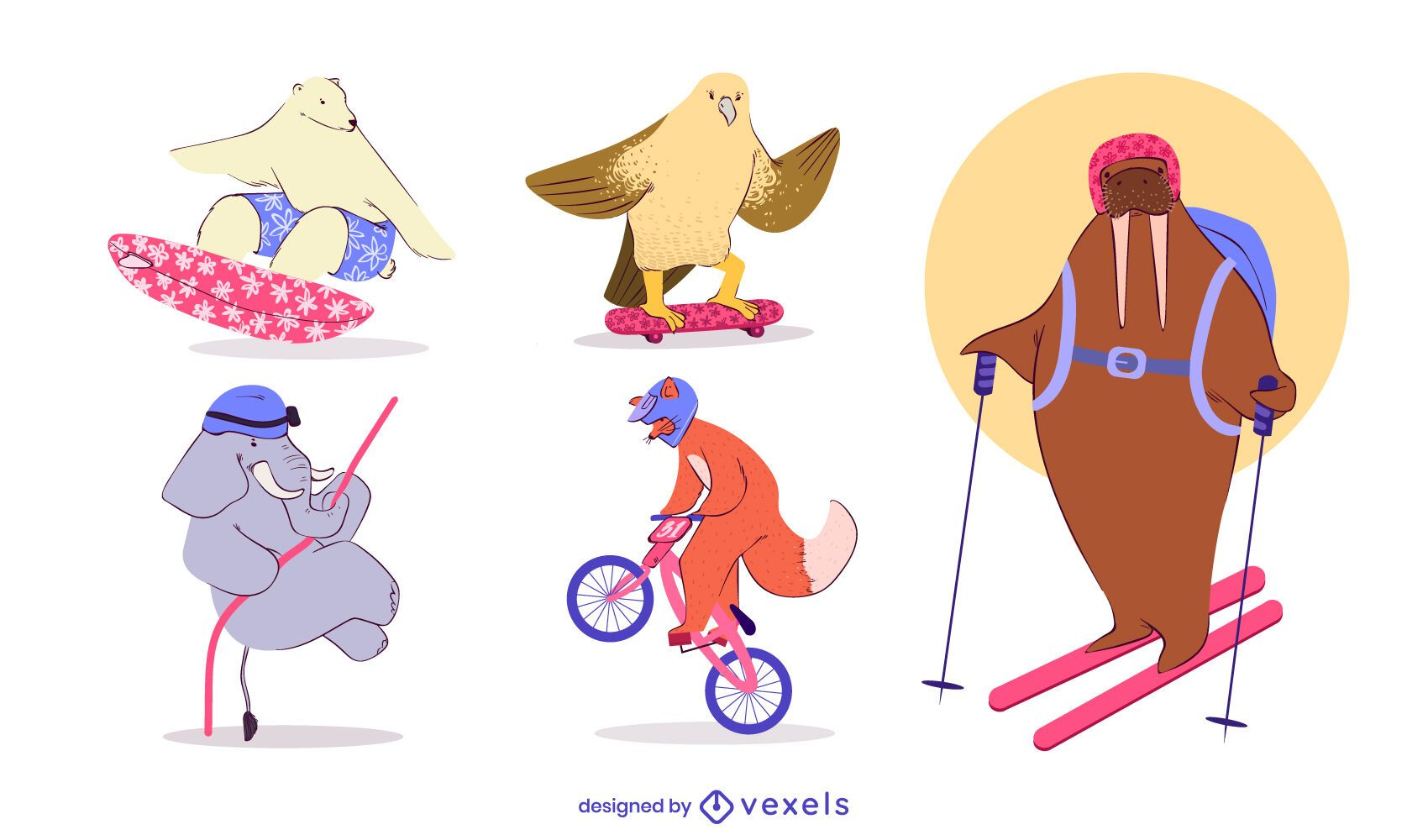 Extreme sports animals character set