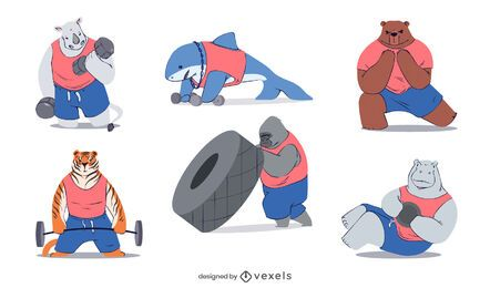 Conjunto de caracteres de animais fitness