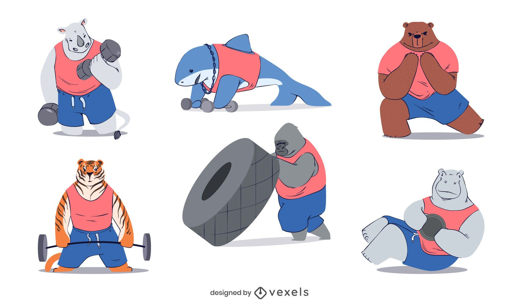 Fitness animals character set