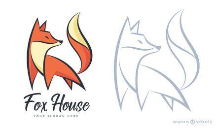 Plantilla de logotipo de casa de zorro