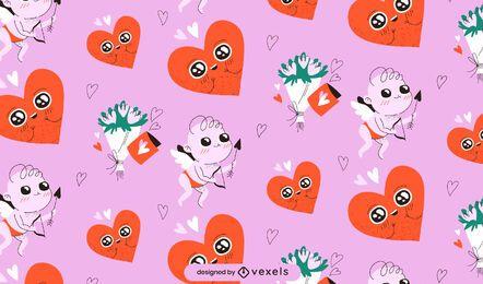 Desenho de padrão de cupido do dia dos namorados