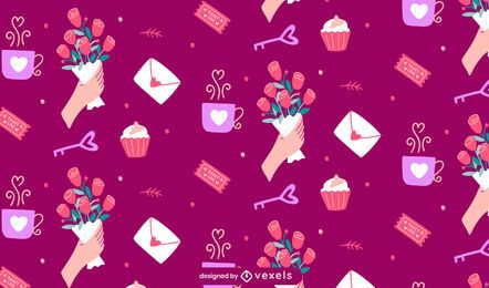 Valentine's day elements pattern design