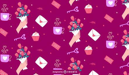 Valentinstag Elemente Muster Design