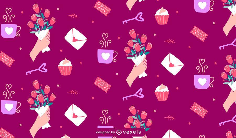 Valentine's day elements pattern design