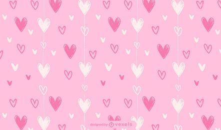 Dia dos namorados desenho padrão de corações