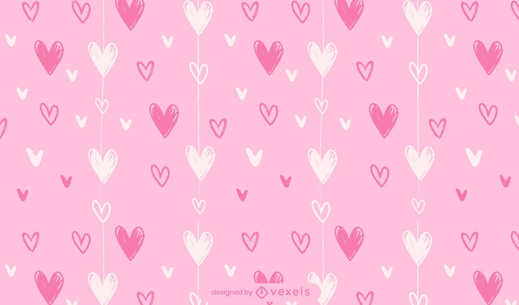 Dise?o de patr?n de corazones de San Valent?n