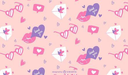 Desenho de padrões de amor para o dia dos namorados
