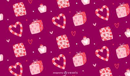 Diseño de patrón de regalos de san valentín