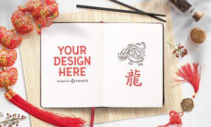Composição de maquete de caderno chinês