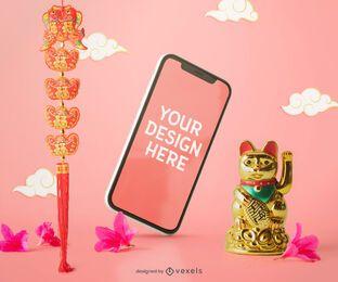 Composição de maquete de celular chinês