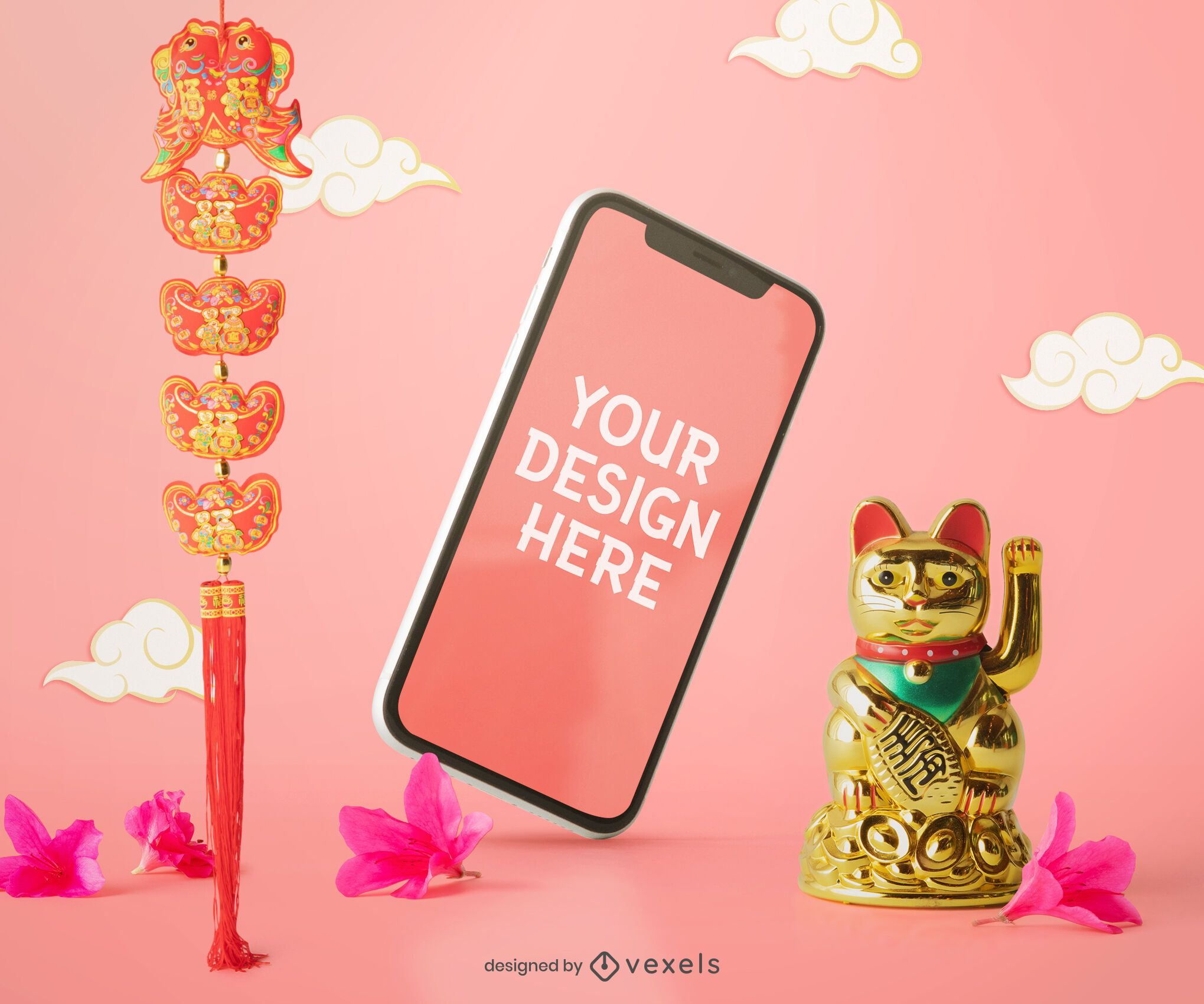 Chinese cellphone mockup composition