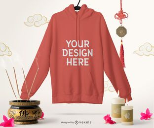 Chinese hoodie mockup composition