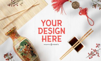 Chinese new year mockup composition psd