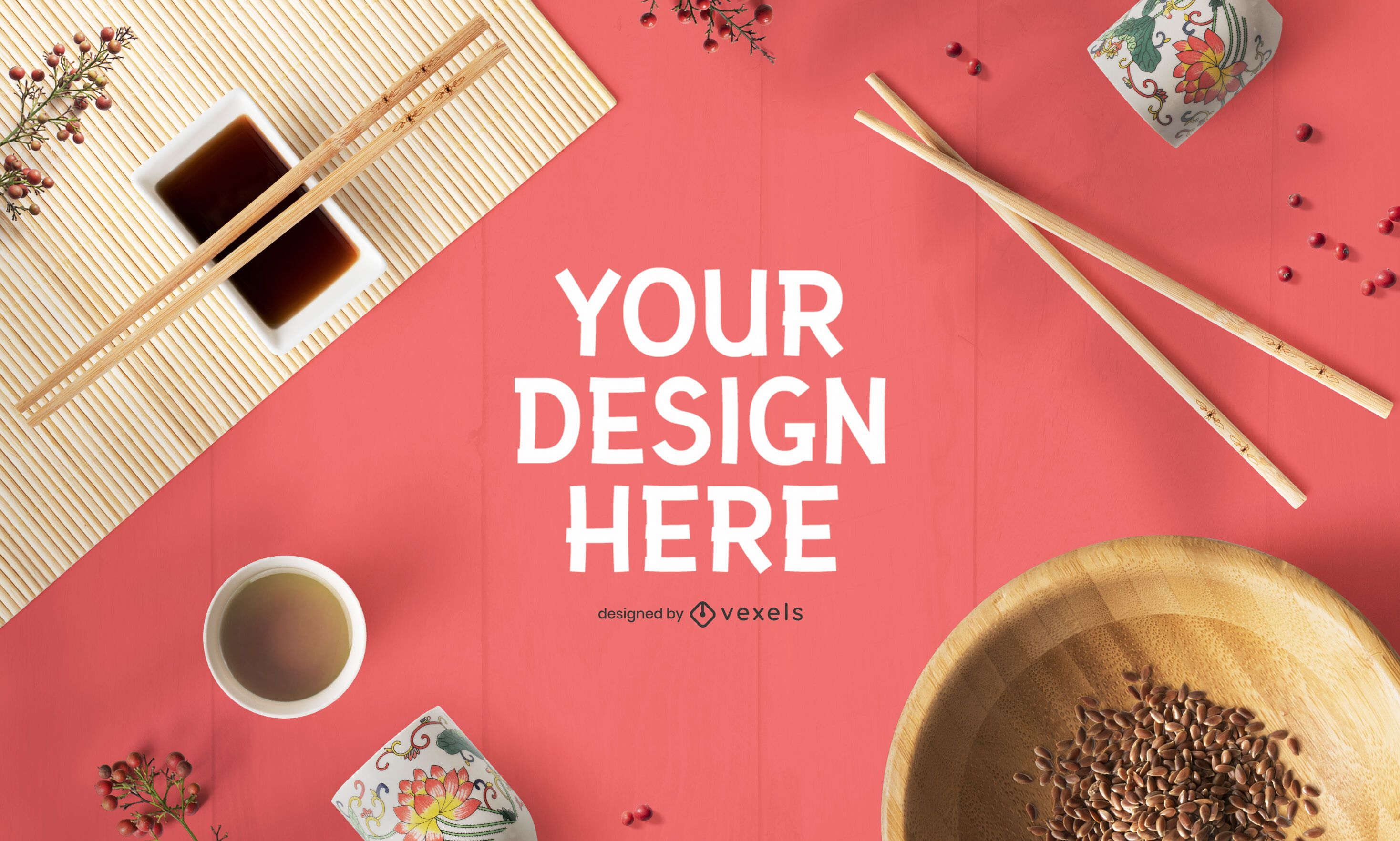 Chinese new year psd mockup composition