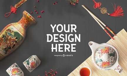 Chinese new year mockup psd composition