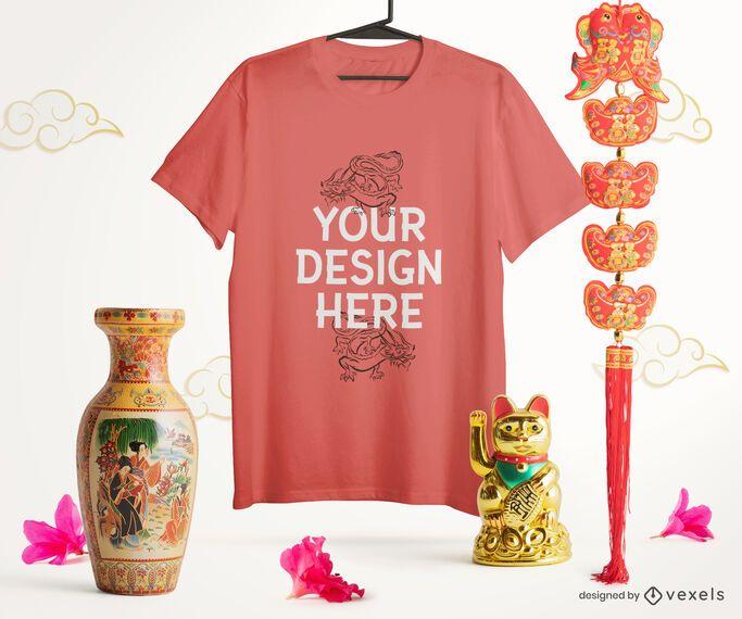 Composição de maquete de camiseta chinesa
