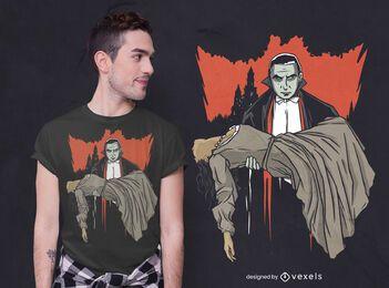 Dracula und Frau T-Shirt Design