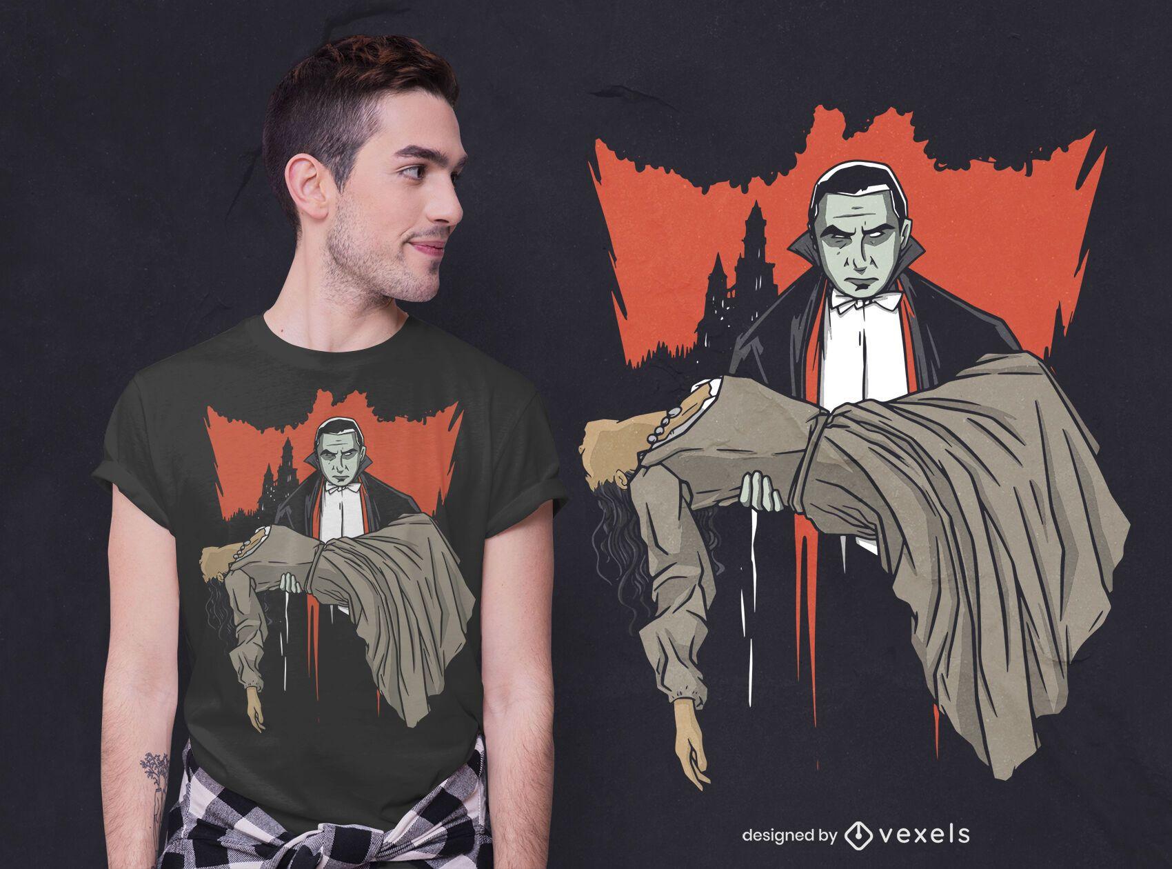 Diseño de camiseta de Drácula y mujer.