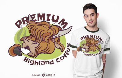 Diseño de camiseta highland coffee