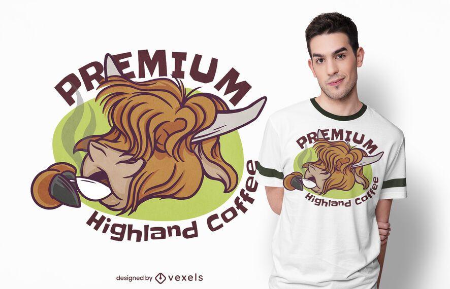 Diseño de camiseta highland coffee