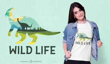 Design de camiseta de dinossauro selvagem