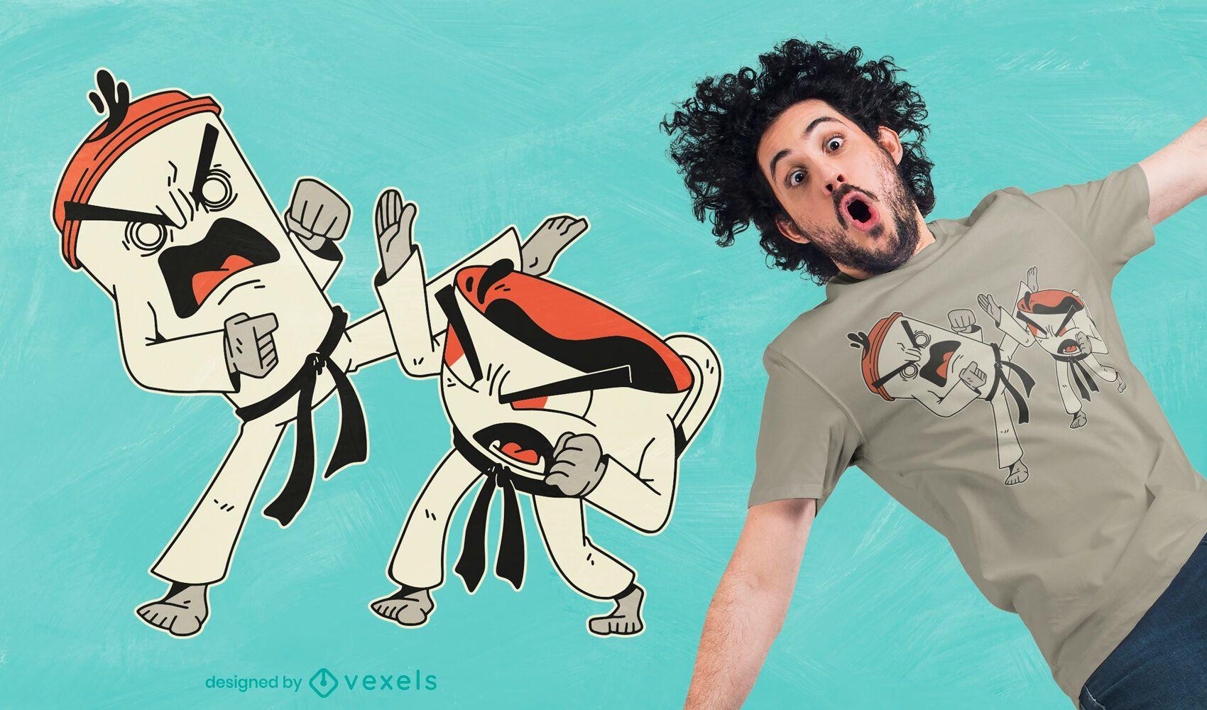 Kaffee Tee Kampf T-Shirt Design