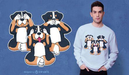 Diseño de camiseta de tres perros.