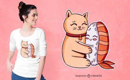 Design de camiseta com abraço de sushi de gato