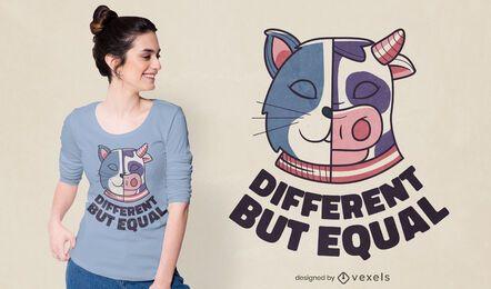 Design de camiseta diferente, mas igual