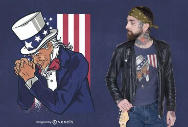 Uncle sam praying t-shirt design